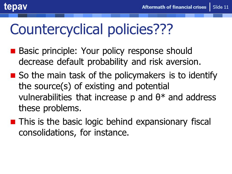 Countercyclical policies??? Basic principle: Your policy response should decrease default probability and risk aversion. So the main task of the polic