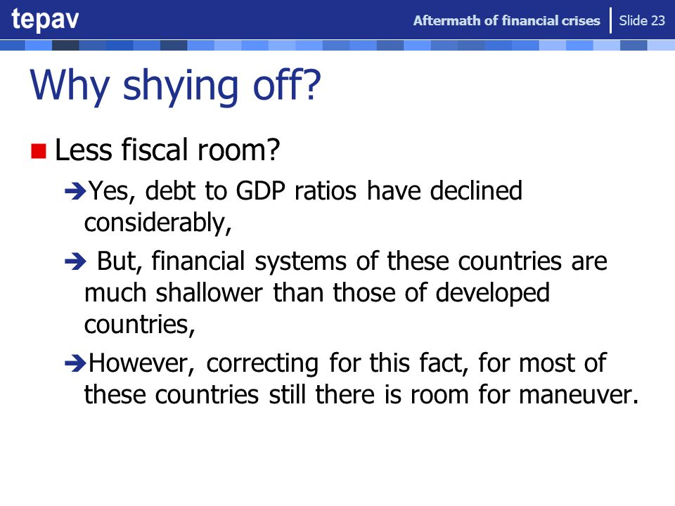 Why shying off? Less fiscal room? Yes, debt to GDP ratios have declined considerably, But, financial systems of these countries are much shallower tha