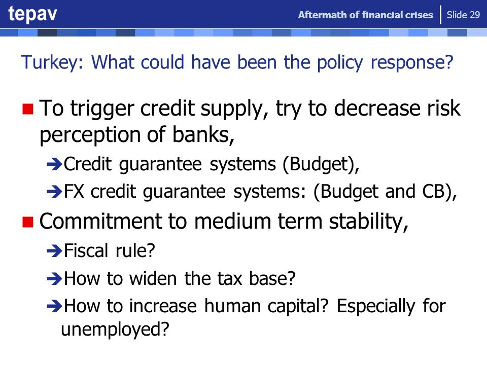 Turkey: What could have been the policy response? To trigger credit supply, try to decrease risk perception of banks, Credit guarantee systems (Budget
