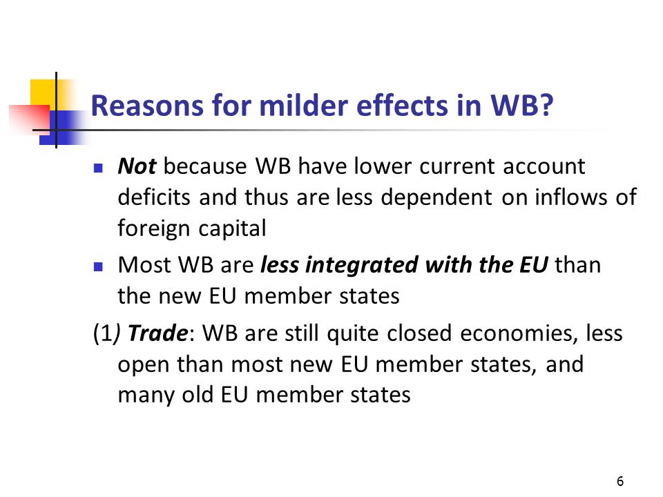 Reasons for milder effects in WB.