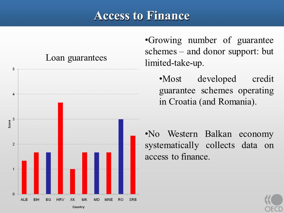 Access to Finance Growing number of guarantee schemes – and donor support: but limited-take-up.