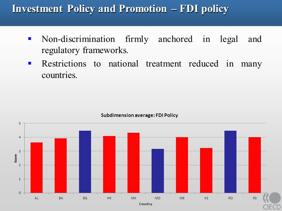 Investment Policy and Promotion –FDI policy (cont.) Non-discrimination firmly anchored in legal and regulatory frameworks.