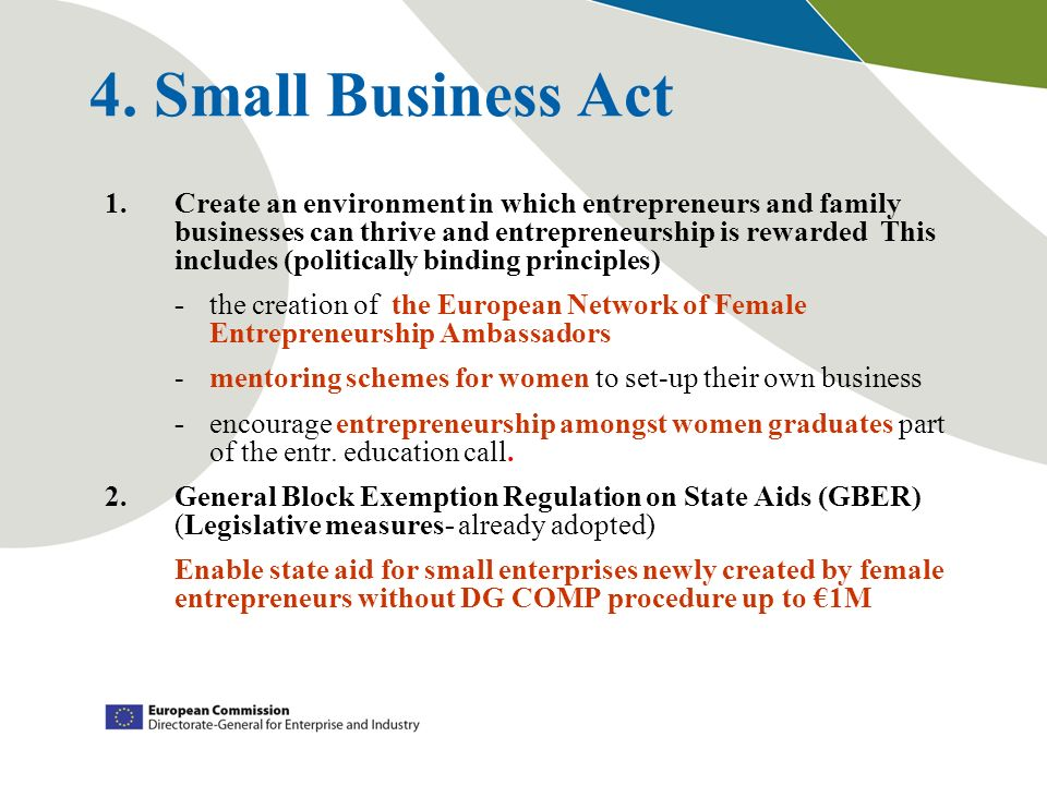 4. Small Business Act 1.Create an environment in which entrepreneurs and family businesses can thrive and entrepreneurship is rewarded This includes (