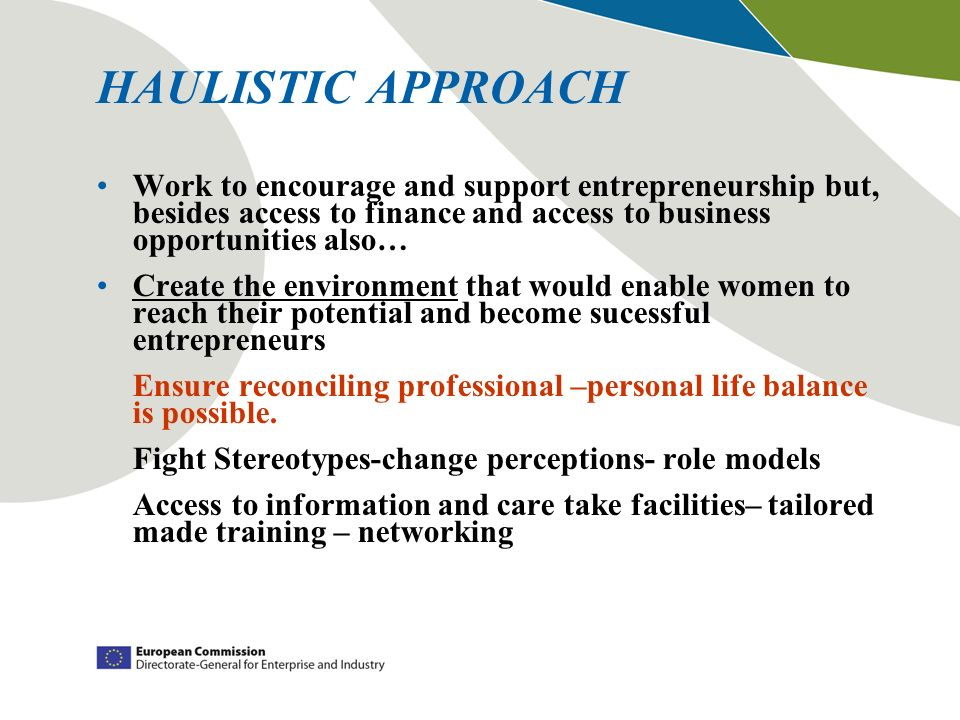 HAULISTIC APPROACH Work to encourage and support entrepreneurship but, besides access to finance and access to business opportunities also… Create the