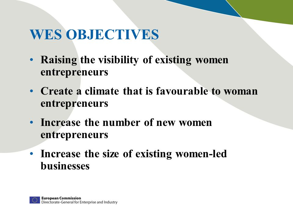 WES OBJECTIVES Raising the visibility of existing women entrepreneurs Create a climate that is favourable to woman entrepreneurs Increase the number o