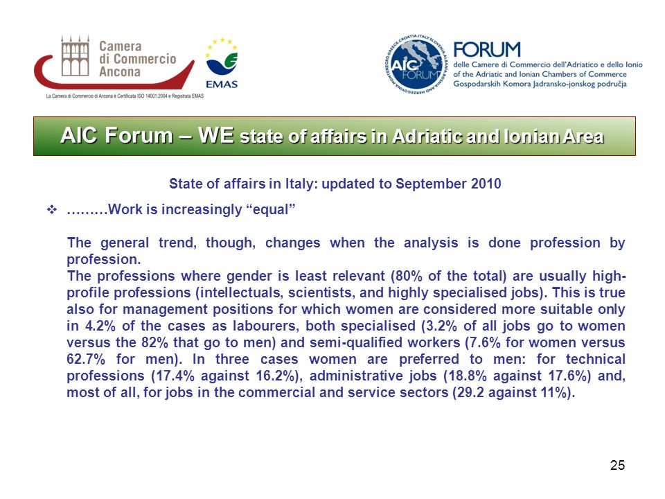 25 AIC Forum – WE state of affairs in Adriatic and Ionian Area State of affairs in Italy: updated to September 2010 ………Work is increasingly equal The general trend, though, changes when the analysis is done profession by profession.