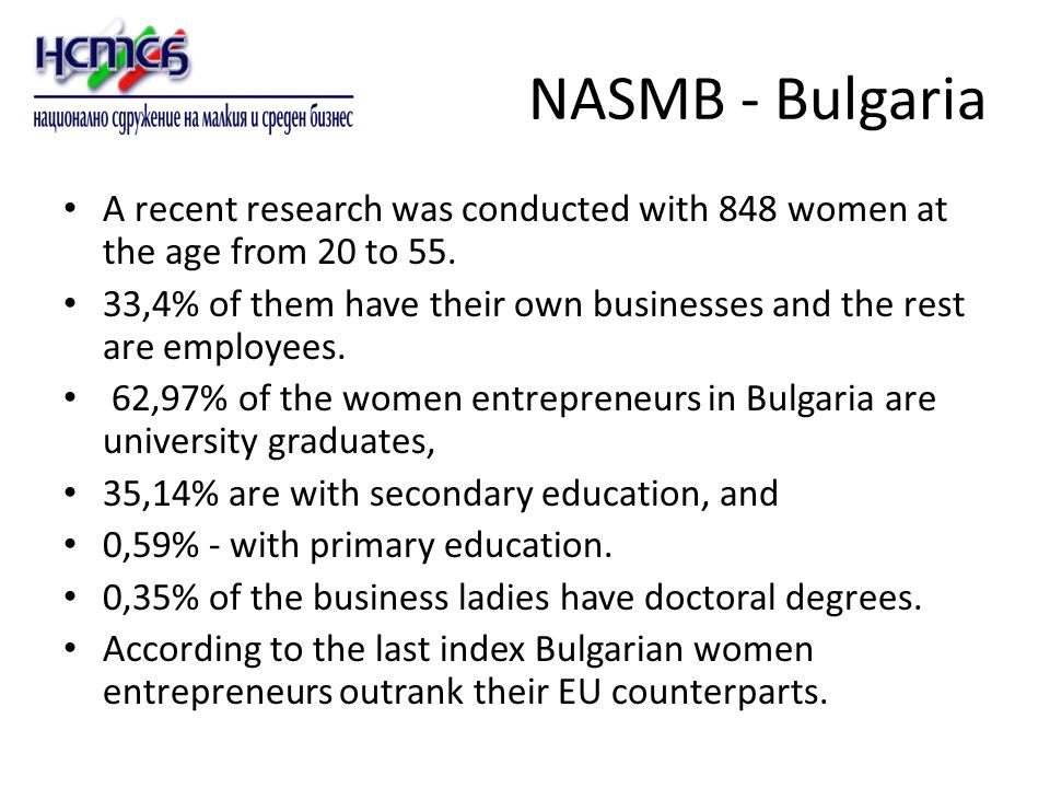 NASMB - Bulgaria A recent research was conducted with 848 women at the age from 20 to 55.