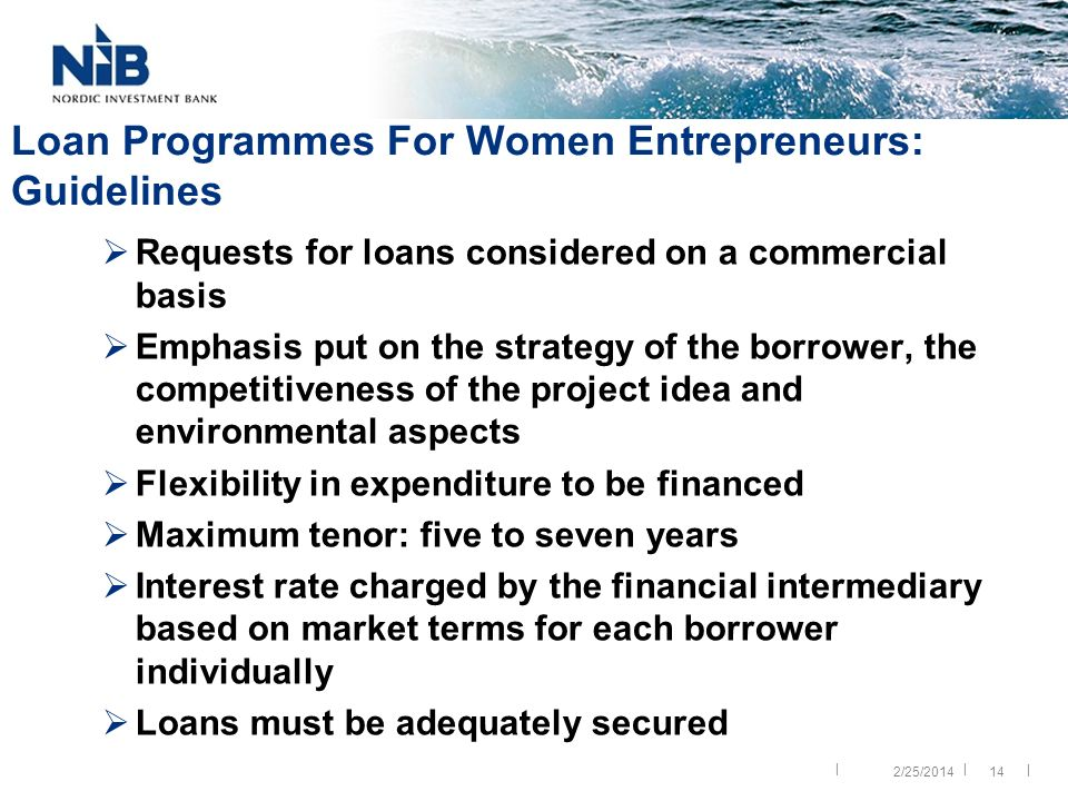|| | 14 Loan Programmes For Women Entrepreneurs: Guidelines Requests for loans considered on a commercial basis Emphasis put on the strategy of the borrower, the competitiveness of the project idea and environmental aspects Flexibility in expenditure to be financed Maximum tenor: five to seven years Interest rate charged by the financial intermediary based on market terms for each borrower individually Loans must be adequately secured 2/25/2014
