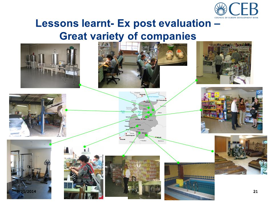 Lessons learnt- Ex post evaluation – Great variety of companies 2/25/201421