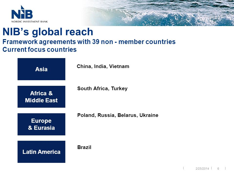 || | 6 NIBs global reach Framework agreements with 39 non - member countries Current focus countries China, India, Vietnam South Africa, Turkey Poland