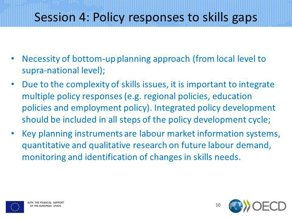 WITH THE FINANCIAL SUPPORT OF THE EUROPEAN UNION Session 4: Policy responses to skills gaps Necessity of bottom-up planning approach (from local level