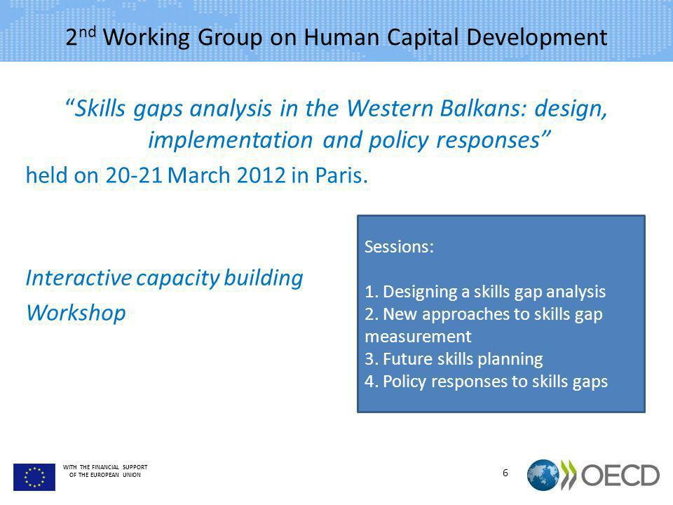 WITH THE FINANCIAL SUPPORT OF THE EUROPEAN UNION 2 nd Working Group on Human Capital Development Skills gaps analysis in the Western Balkans: design,