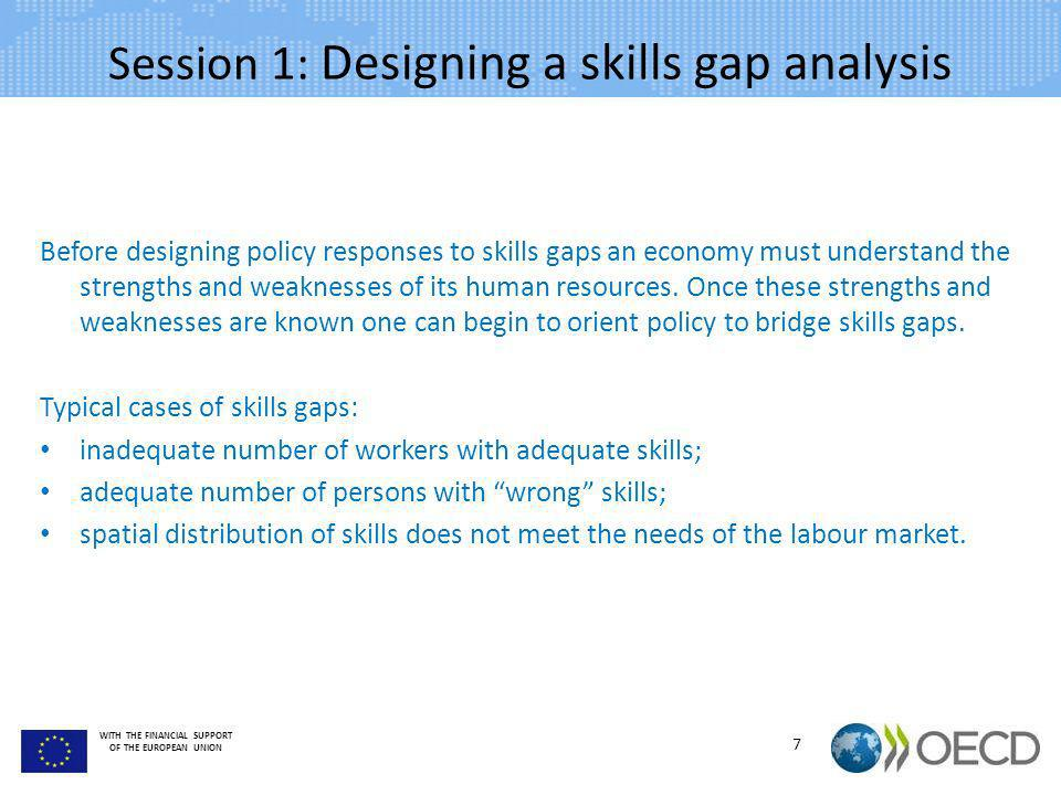 WITH THE FINANCIAL SUPPORT OF THE EUROPEAN UNION Session 1: Designing a skills gap analysis Before designing policy responses to skills gaps an econom
