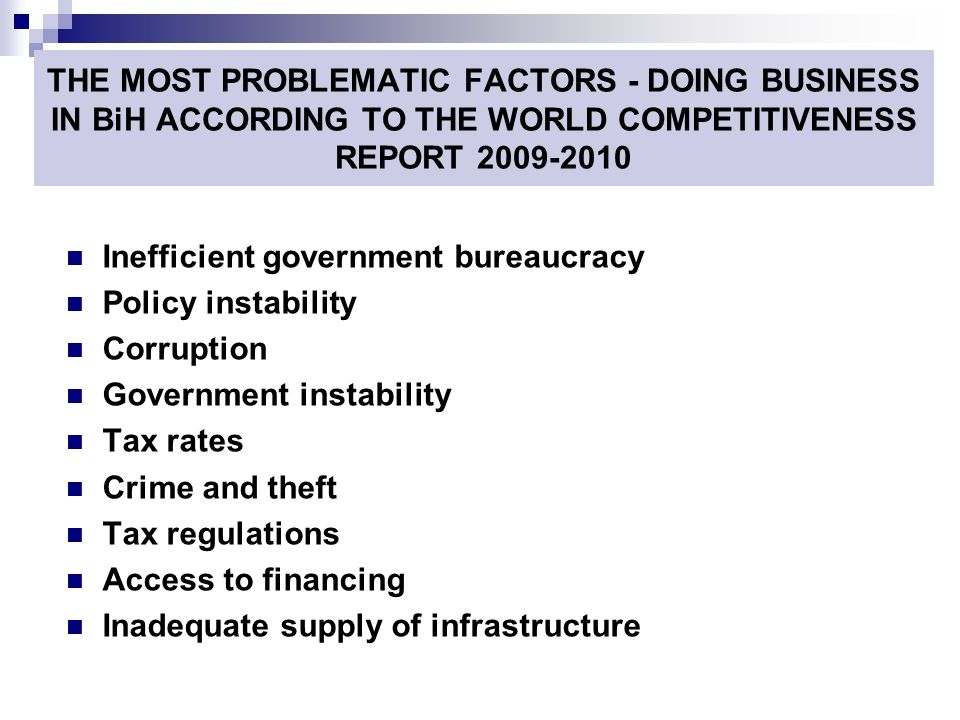 THE MOST PROBLEMATIC FACTORS - DOING BUSINESS IN BiH ACCORDING TO THE WORLD COMPETITIVENESS REPORT 2009-2010 Inefficient government bureaucracy Policy