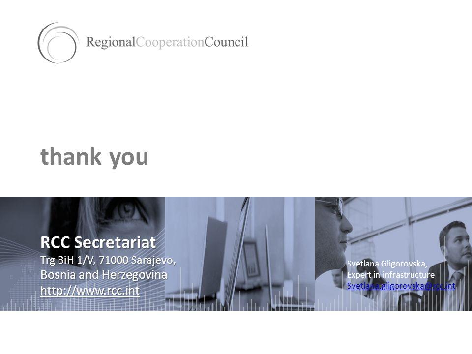 thank you RCC Secretariat Trg BiH 1/V, 71000 Sarajevo, Bosnia and Herzegovina http://www.rcc.int Svetlana Gligorovska, Expert in infrastructure Svetlana.gligorovska@rcc.int
