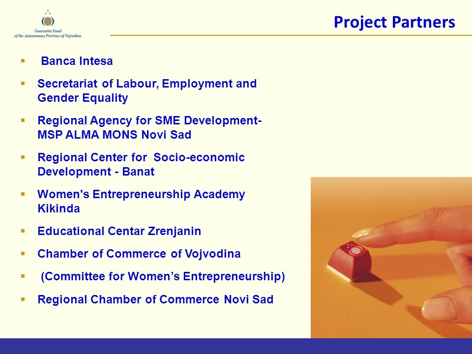 Project Partners Banca Intesa Secretariat of Labour, Employment and Gender Equality Regional Agency for SME Development- MSP ALMA MONS Novi Sad Regional Center for Socio-economic Development - Banat Women s Entrepreneurship Academy Kikinda Educational Centar Zrenjanin Chamber of Commerce of Vojvodina (Committee for Womens Entrepreneurship) Regional Chamber of Commerce Novi Sad