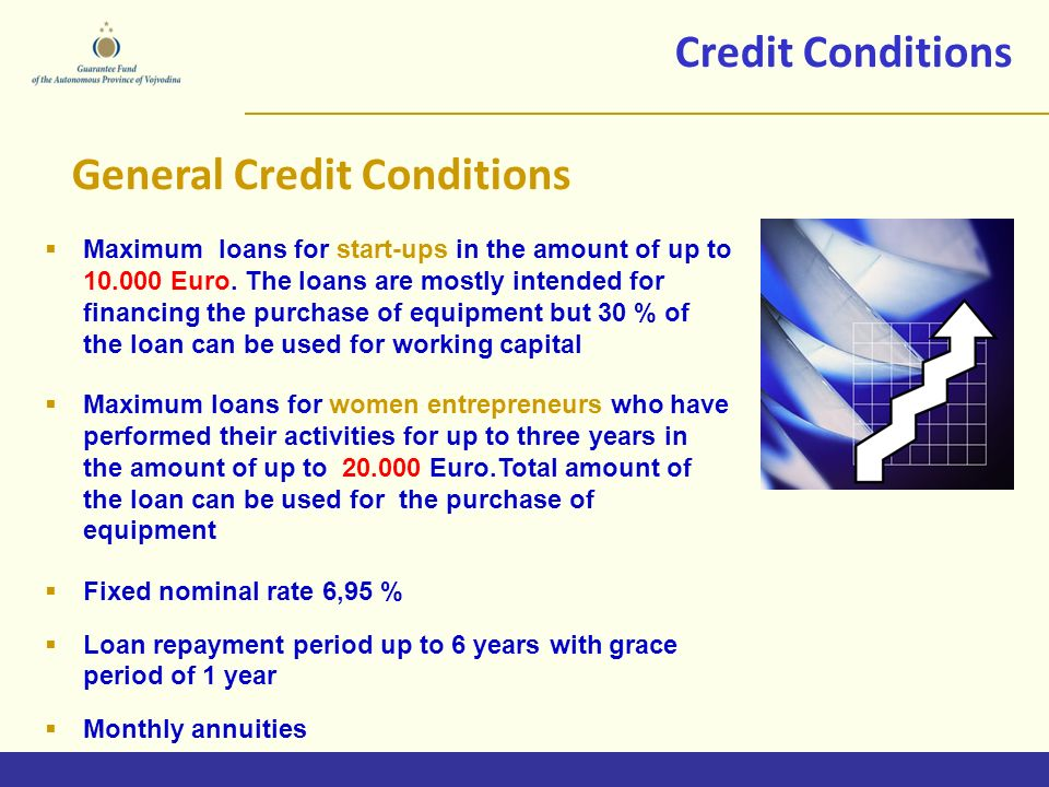 Credit Conditions Maximum loans for start-ups in the amount of up to Euro.