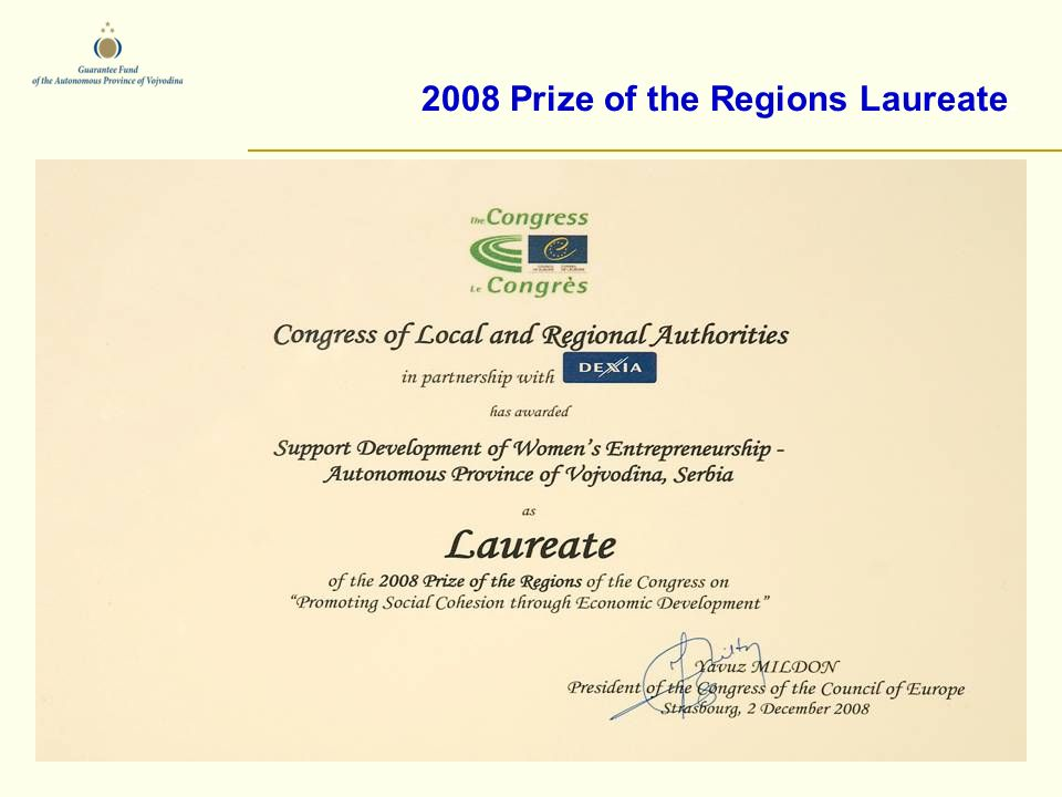 2008 Prize of the Regions Laureate.
