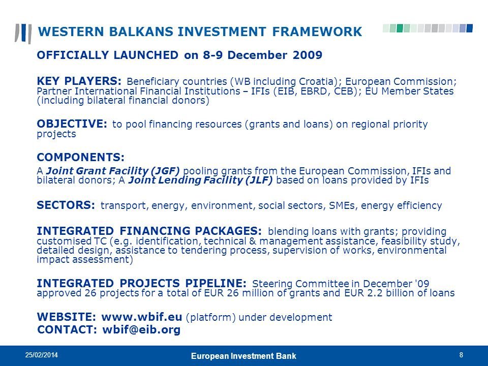 25/02/20148 European Investment Bank WESTERN BALKANS INVESTMENT FRAMEWORK OFFICIALLY LAUNCHED on 8-9 December 2009 KEY PLAYERS: Beneficiary countries
