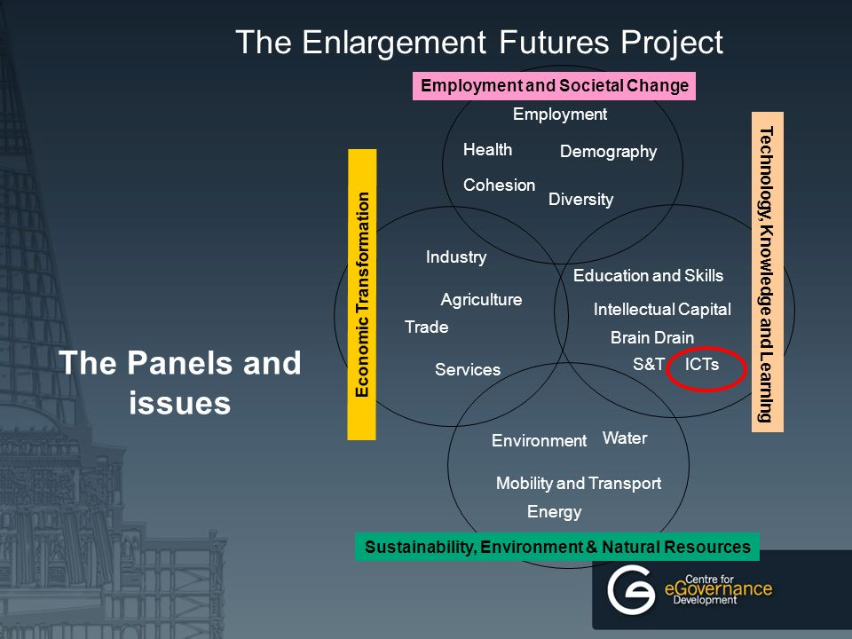 The Enlargement Futures Project The Panels and issues Economic Transformation Trade Industry Services Agriculture Employment and Societal Change Health Cohesion Diversity Employment Demography S&T Technology, Knowledge and Learning Intellectual Capital Brain Drain Education and Skills ICTs Mobility and Transport Energy Environment Sustainability, Environment & Natural Resources Water