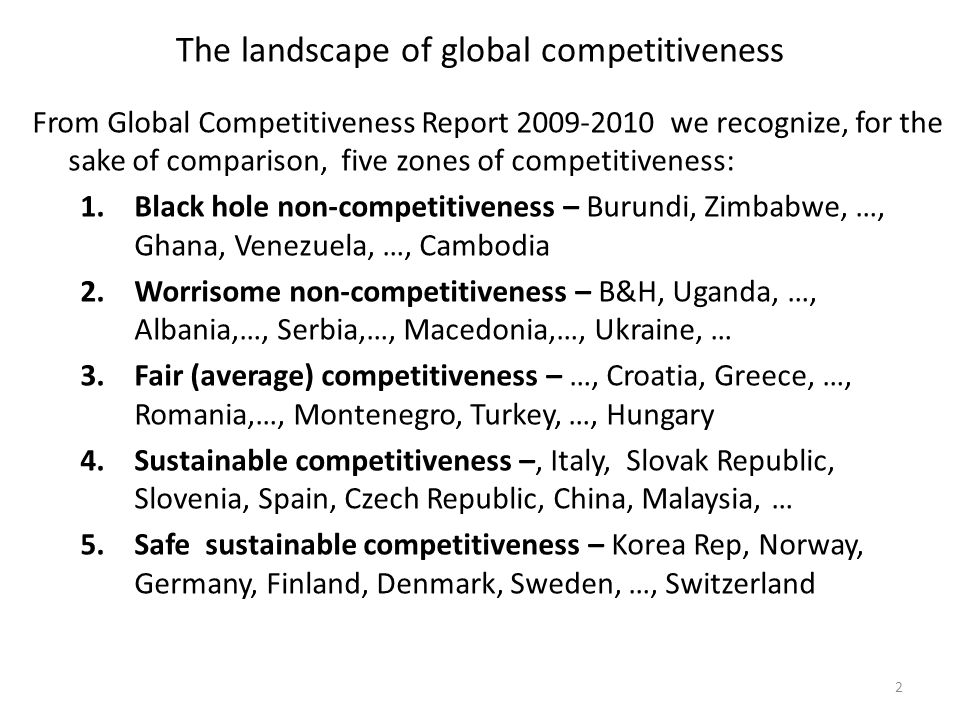 The landscape of global competitiveness From Global Competitiveness Report 2009-2010 we recognize, for the sake of comparison, five zones of competitiveness: 1.Black hole non-competitiveness – Burundi, Zimbabwe, …, Ghana, Venezuela, …, Cambodia 2.Worrisome non-competitiveness – B&H, Uganda, …, Albania,…, Serbia,…, Macedonia,…, Ukraine, … 3.Fair (average) competitiveness – …, Croatia, Greece, …, Romania,…, Montenegro, Turkey, …, Hungary 4.Sustainable competitiveness –, Italy, Slovak Republic, Slovenia, Spain, Czech Republic, China, Malaysia, … 5.Safe sustainable competitiveness – Korea Rep, Norway, Germany, Finland, Denmark, Sweden, …, Switzerland 2