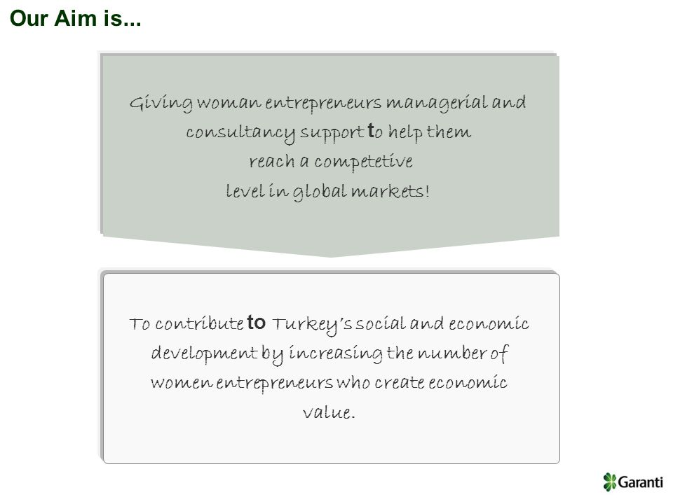 Our Aim is... Giving woman entrepreneurs managerial and consultancy support t o help them reach a competetive level in global markets! To contribute t