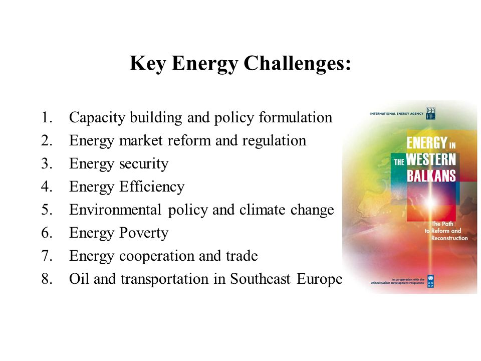 Key Energy Challenges: 1.Capacity building and policy formulation 2.Energy market reform and regulation 3.Energy security 4.Energy Efficiency 5.Environmental policy and climate change 6.Energy Poverty 7.Energy cooperation and trade 8.Oil and transportation in Southeast Europe