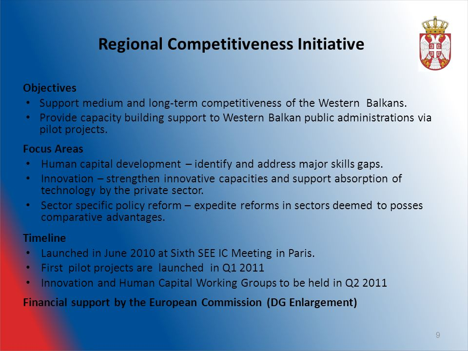 Regional Competitiveness Initiative Objectives Support medium and long-term competitiveness of the Western Balkans.