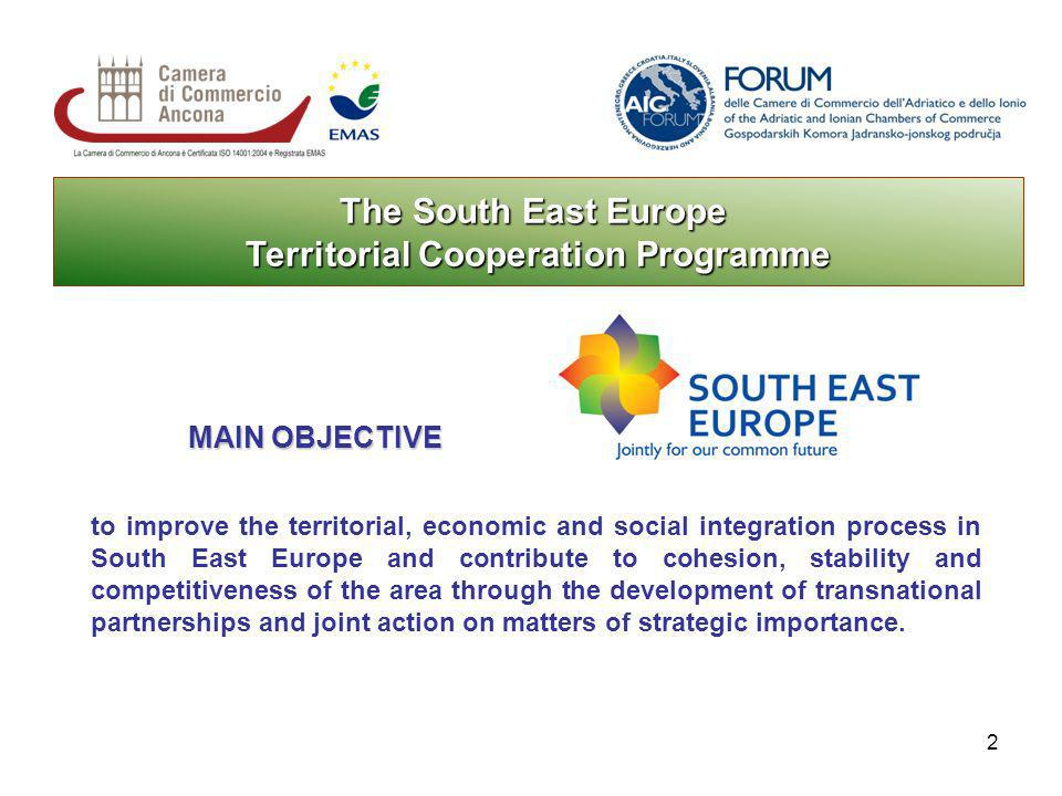 2 The South East Europe Territorial Cooperation Programme to improve the territorial, economic and social integration process in South East Europe and contribute to cohesion, stability and competitiveness of the area through the development of transnational partnerships and joint action on matters of strategic importance.
