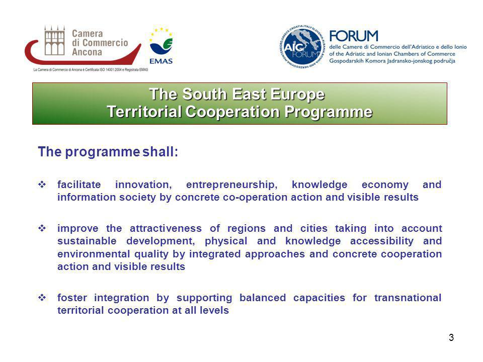 3 The South East Europe Territorial Cooperation Programme The programme shall: facilitate innovation, entrepreneurship, knowledge economy and information society by concrete co-operation action and visible results improve the attractiveness of regions and cities taking into account sustainable development, physical and knowledge accessibility and environmental quality by integrated approaches and concrete cooperation action and visible results foster integration by supporting balanced capacities for transnational territorial cooperation at all levels