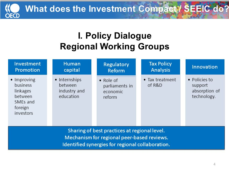 I. Policy Dialogue Regional Working Groups 4 Investment Promotion Improving business linkages between SMEs and foreign investors Human capital Interns