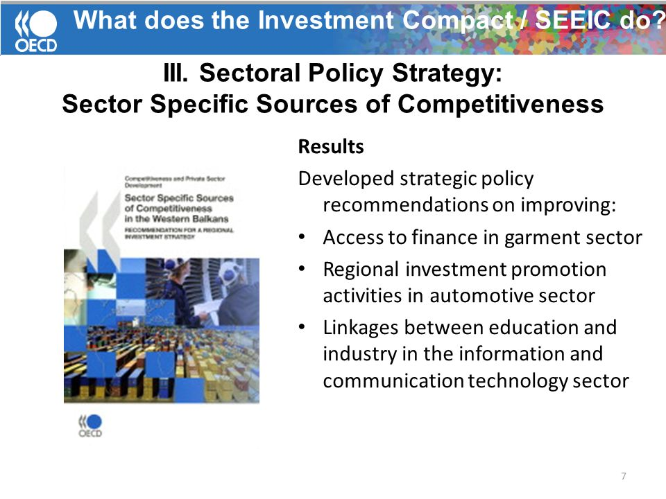 What does the Investment Compact / SEEIC do. III.