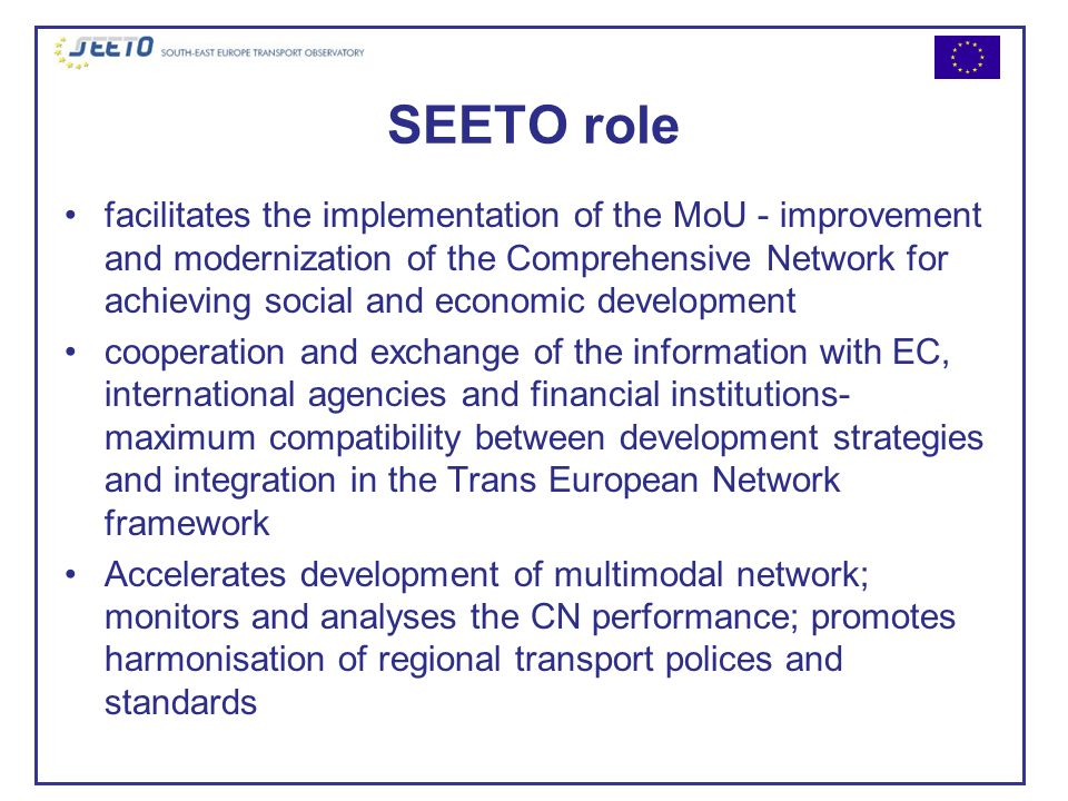 SEETO role facilitates the implementation of the MoU - improvement and modernization of the Comprehensive Network for achieving social and economic de