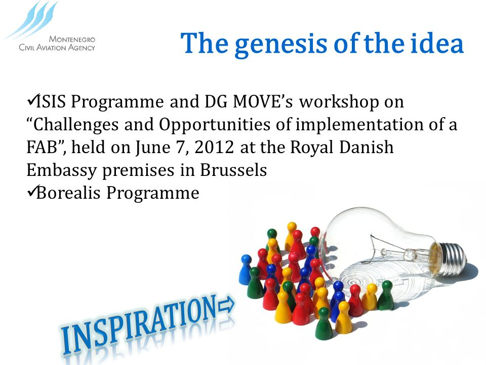 The genesis of the idea ISIS Programme and DG MOVEs workshop on Challenges and Opportunities of implementation of a FAB, held on June 7, 2012 at the Royal Danish Embassy premises in Brussels Borealis Programme