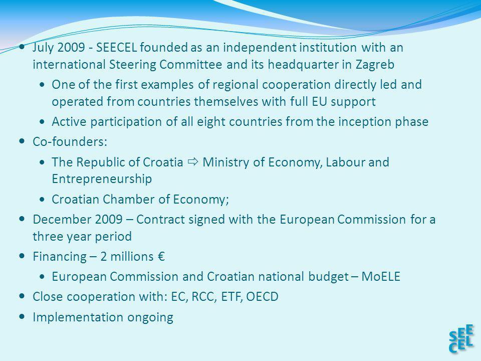 SEECEL Member States Albania, Bosnia and Herzegovina, Montenegro, Croatia, Kosovo, Macedonia, Serbia, Turkey.