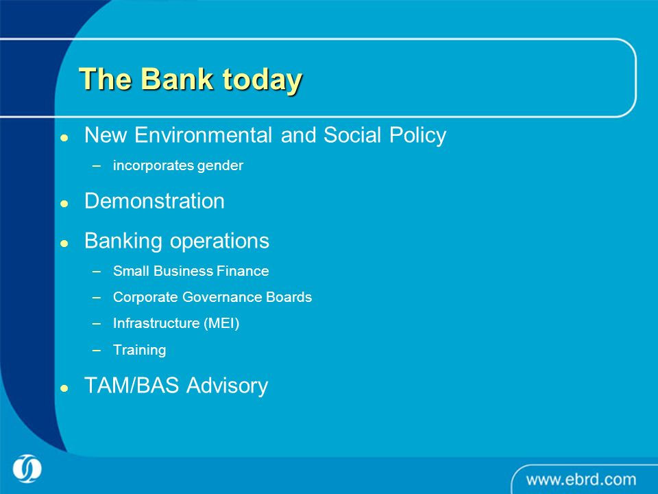 The Bank today New Environmental and Social Policy –incorporates gender Demonstration Banking operations –Small Business Finance –Corporate Governance