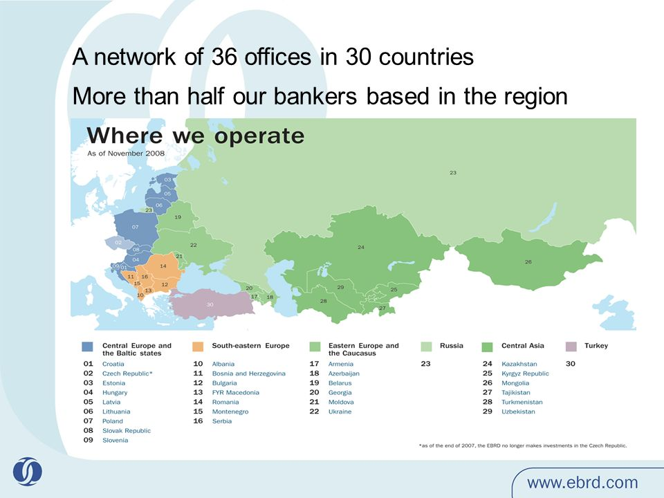 A network of 36 offices in 30 countries More than half our bankers based in the region