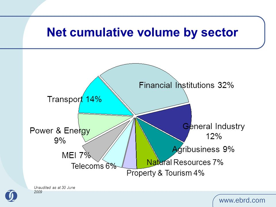 Net cumulative volume by sector Financial Institutions 32% General Industry 12% Agribusiness 9% Natural Resources 7% Property & Tourism 4% Telecoms 6% MEI 7% Power & Energy 9% Transport 14% Unaudited as at 30 June 2009
