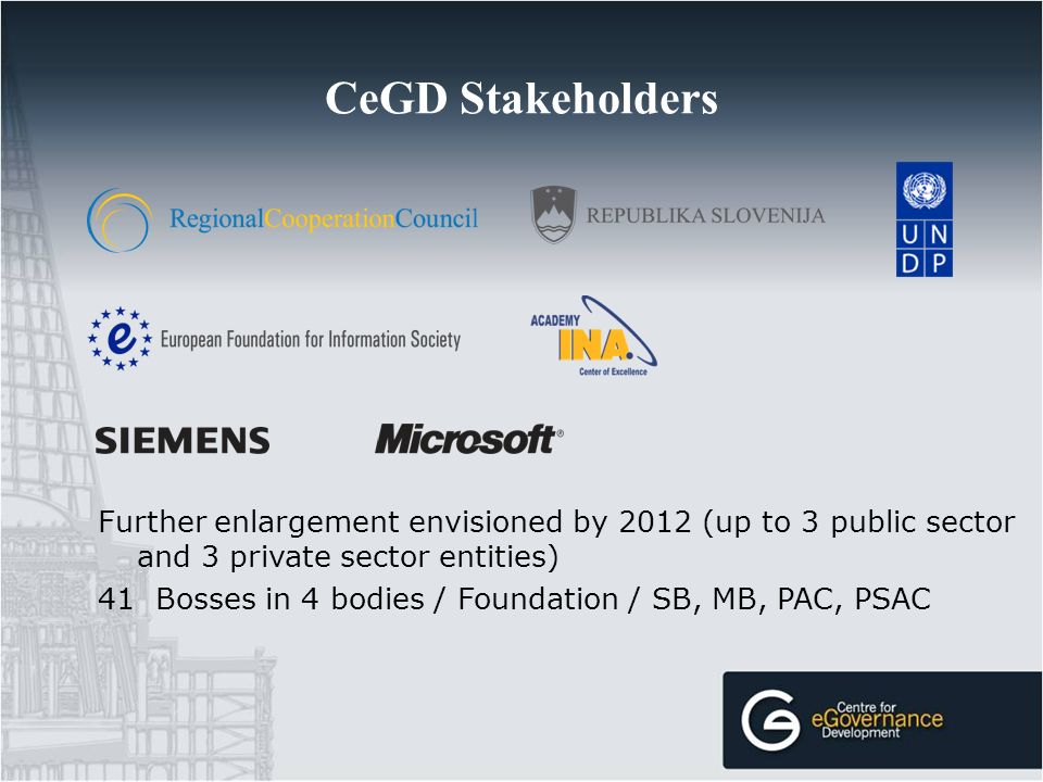 CeGD Stakeholders Further enlargement envisioned by 2012 (up to 3 public sector and 3 private sector entities) 41 Bosses in 4 bodies / Foundation / SB