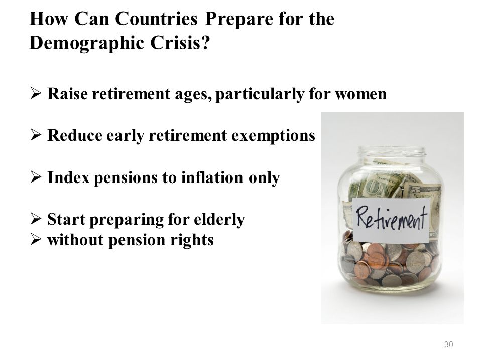 How Can Countries Prepare for the Demographic Crisis? Raise retirement ages, particularly for women Reduce early retirement exemptions Index pensions