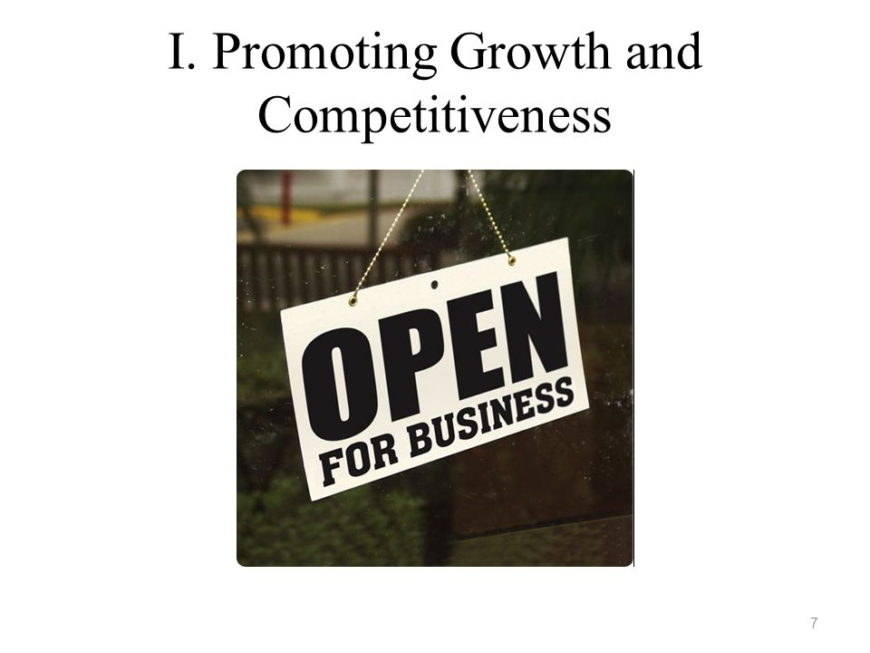 I. Promoting Growth and Competitiveness 7