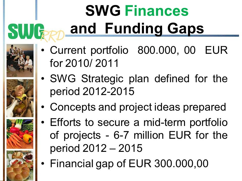 SWG Finances and Funding Gaps Current portfolio 800.000, 00 EUR for 2010/ 2011 SWG Strategic plan defined for the period 2012-2015 Concepts and projec