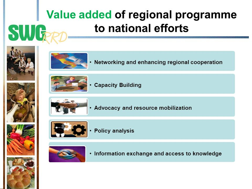 Value added of regional programme to national efforts Networking and enhancing regional cooperation Capacity Building Advocacy and resource mobilizati