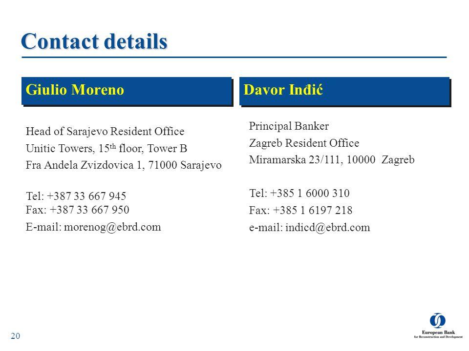 20 Contact details Davor Inđić Giulio Moreno Principal Banker Zagreb Resident Office Miramarska 23/111, 10000 Zagreb Tel: +385 1 6000 310 Fax: +385 1
