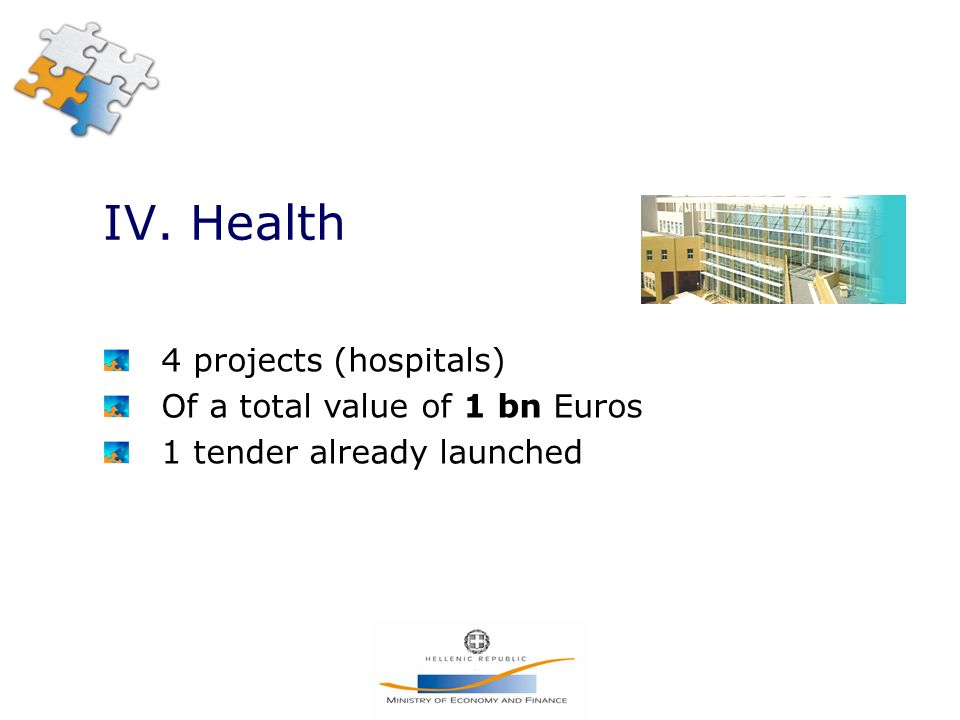 IV. Health 4 projects (hospitals) Of a total value of 1 bn Euros 1 tender already launched