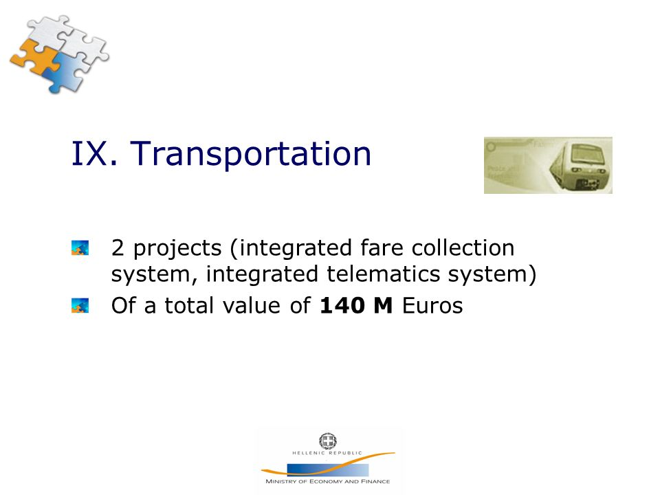 IX. Transportation 2 projects (integrated fare collection system, integrated telematics system) Of a total value of 140 M Euros