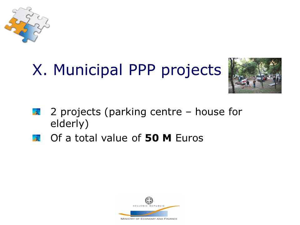 X. Municipal PPP projects 2 projects (parking centre – house for elderly) Of a total value of 50 M Euros