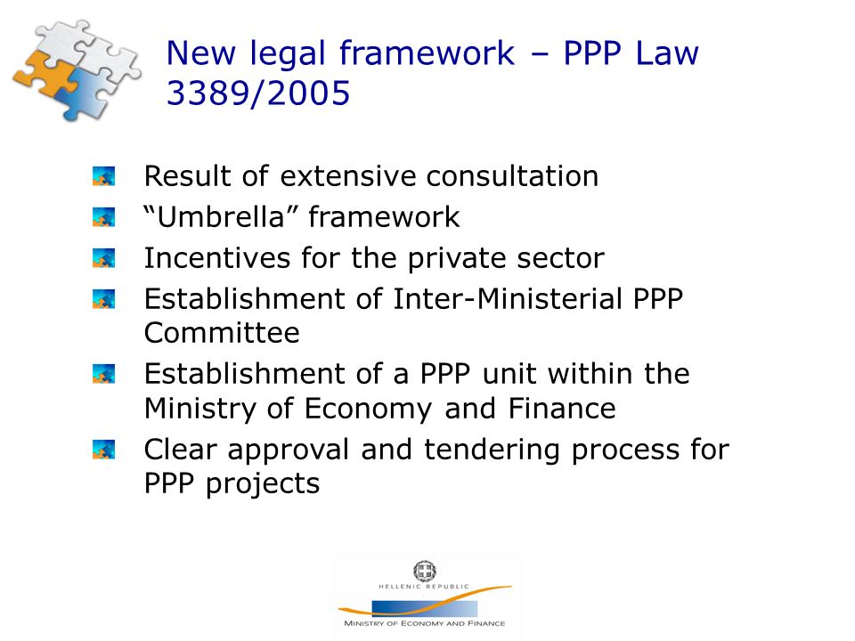 New legal framework – PPP Law 3389/2005 Result of extensive consultation Umbrella framework Incentives for the private sector Establishment of Inter-Ministerial PPP Committee Establishment of a PPP unit within the Ministry of Economy and Finance Clear approval and tendering process for PPP projects