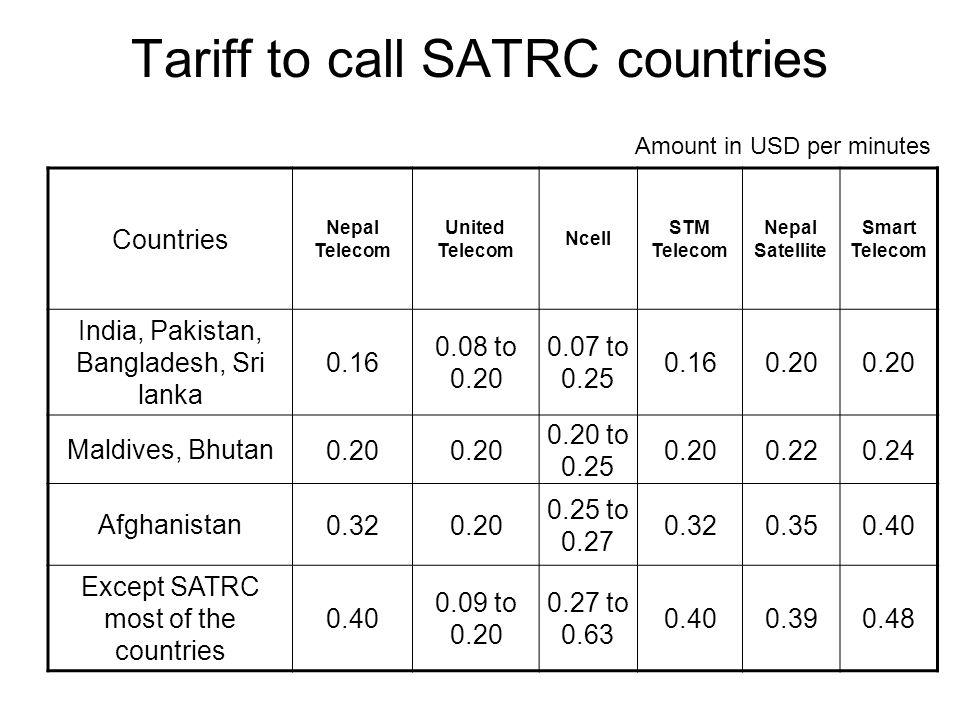Tariff to call SATRC countries Countries Nepal Telecom United Telecom Ncell STM Telecom Nepal Satellite Smart Telecom India, Pakistan, Bangladesh, Sri