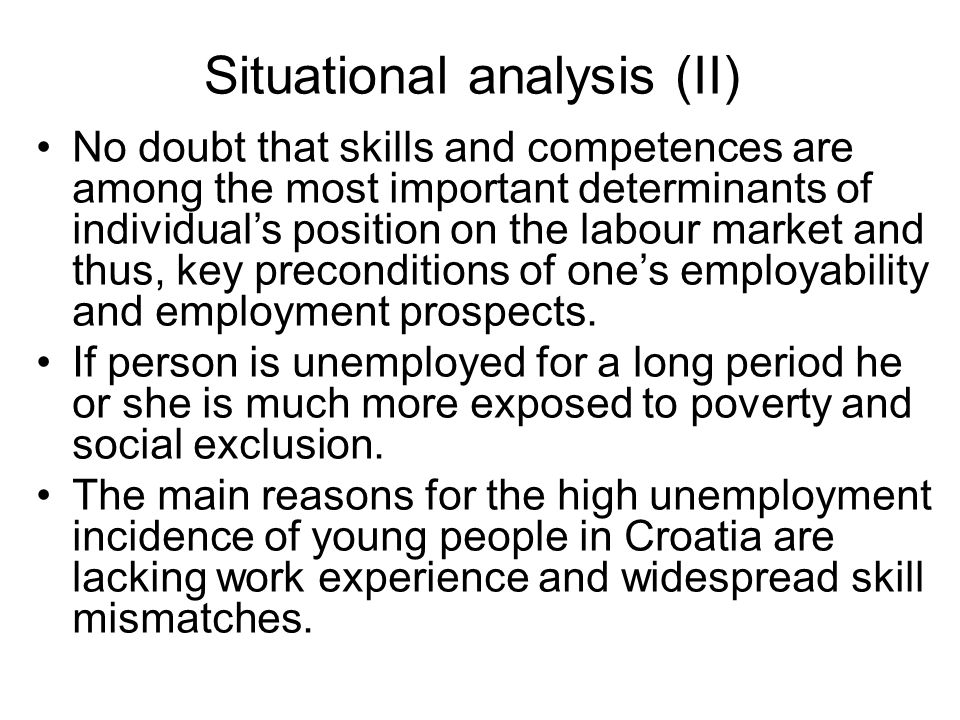 Situational analysis (II) No doubt that skills and competences are among the most important determinants of individuals position on the labour market and thus, key preconditions of ones employability and employment prospects.